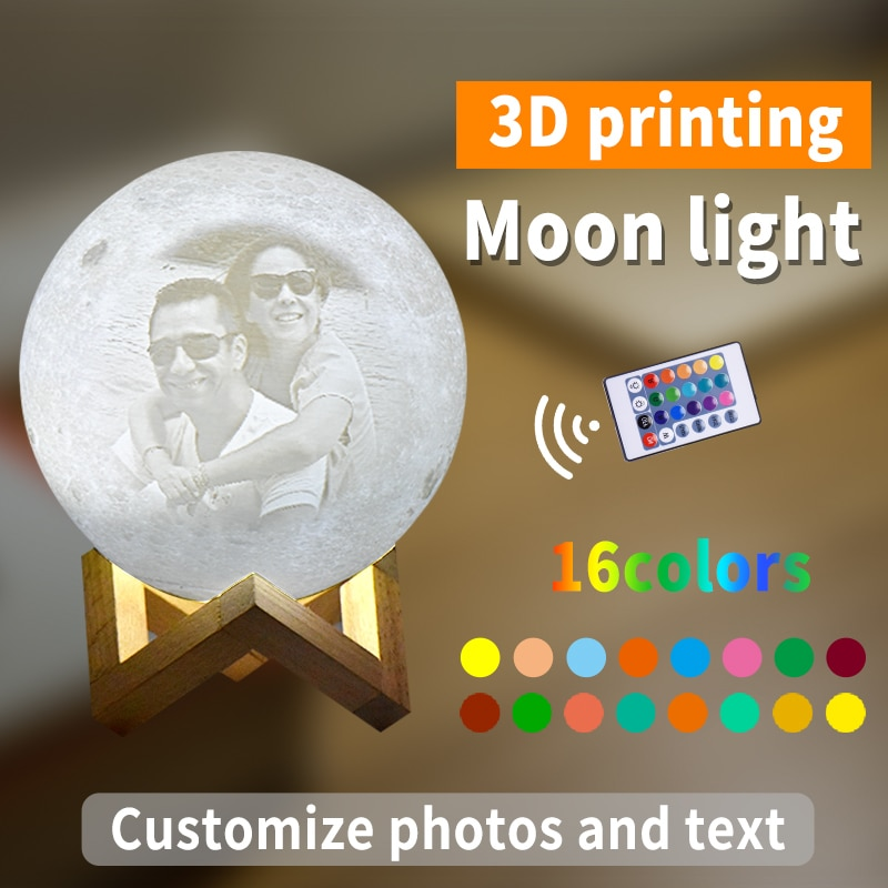 Customized Moon Lamp Photo/Text Custom Kids Wife's Gifts Night Light LED USB Charging Tap Control 2/