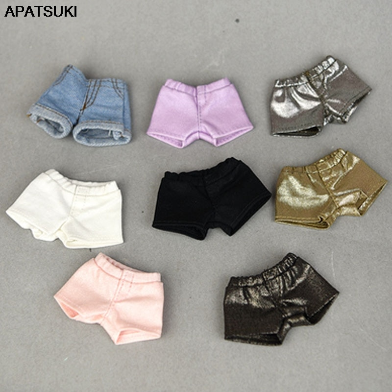 Fashion Denim Jeans Leather Shorts For Barbie Doll Clothes Outfits Trousers For Blythe 1/6 Dolls Accessories Kids Toys 5 sets fashion casual wear doll clothes tops t shirt jacket pants outfits accessories for barbie boy friend ken dolls cloth toys