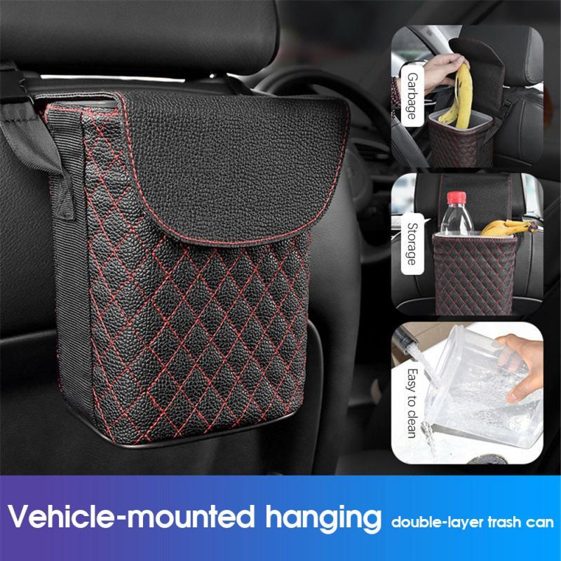 Car Trash Bin Multifunctional Car Storage Box Double-layer Design Mini Hanging Trash Case Car Storage Black Box Storage Bags