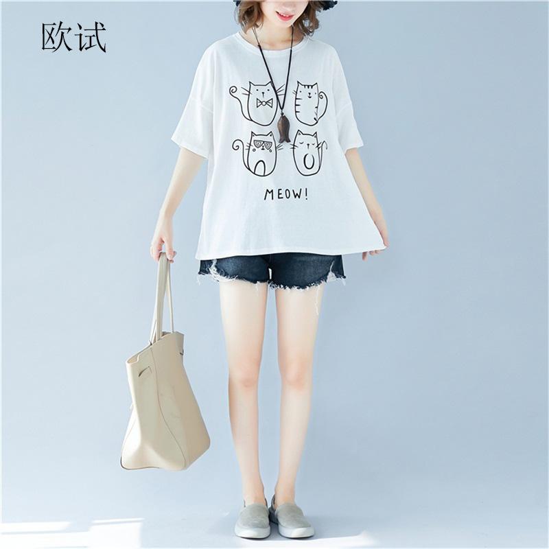 2020 Summer Korean Cotton Ladies T Shirt Women Cat Printed Plus Size Cute White Tshirt Casual Loose Kawaii Shirts Tops T-Shirt