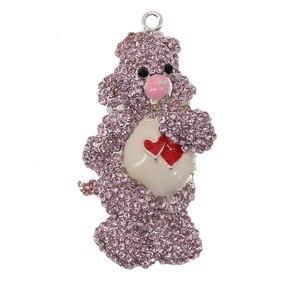 10pcs/lot  Fashion Jewelry Rhinestone Animal Bear Shape Pendant For Necklace