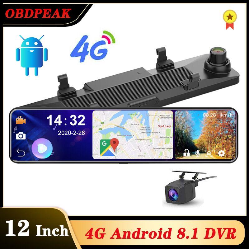 "OBEPEAK Smart 12"" Android 4G Wifi Car Rearview Camera Mirror DVR 3 Split Screen 24h Monitoring ADAS Dual Dash Car Video Recorder"