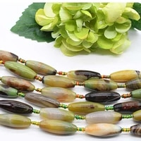 2strands lot natural oval agate olive smooth surface stone pattern loose bead for woman diy necklace bracelets jewelry making