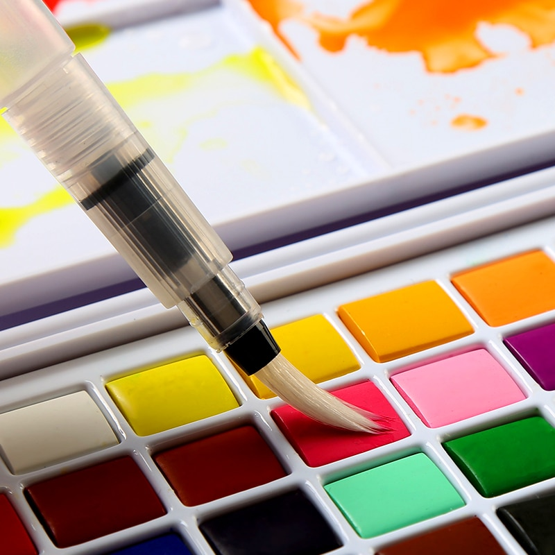 Juego portátil de 36 colores de pigmento sólido para acuarela, con esponja, pincel, bolígrafo para pintura profesional, suministros de arte