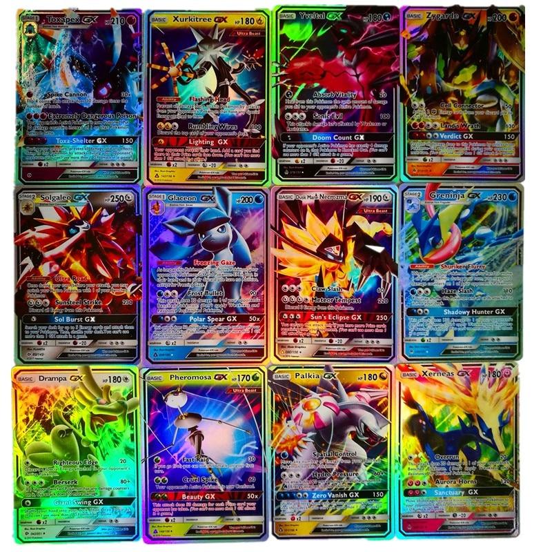 200 pièces GX MEGA brillant cartes jeu bataille Carte 25 50 100 pièces cartes à collectionner jeu enfants Pokemons jouet