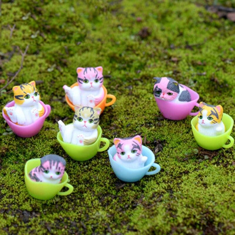 Preciosa taza con Gato, gatito, gatito, gato, gato, dibujo animado, modelo de Japón, Francia, pequeña figurita artesanal, ornamento DIY