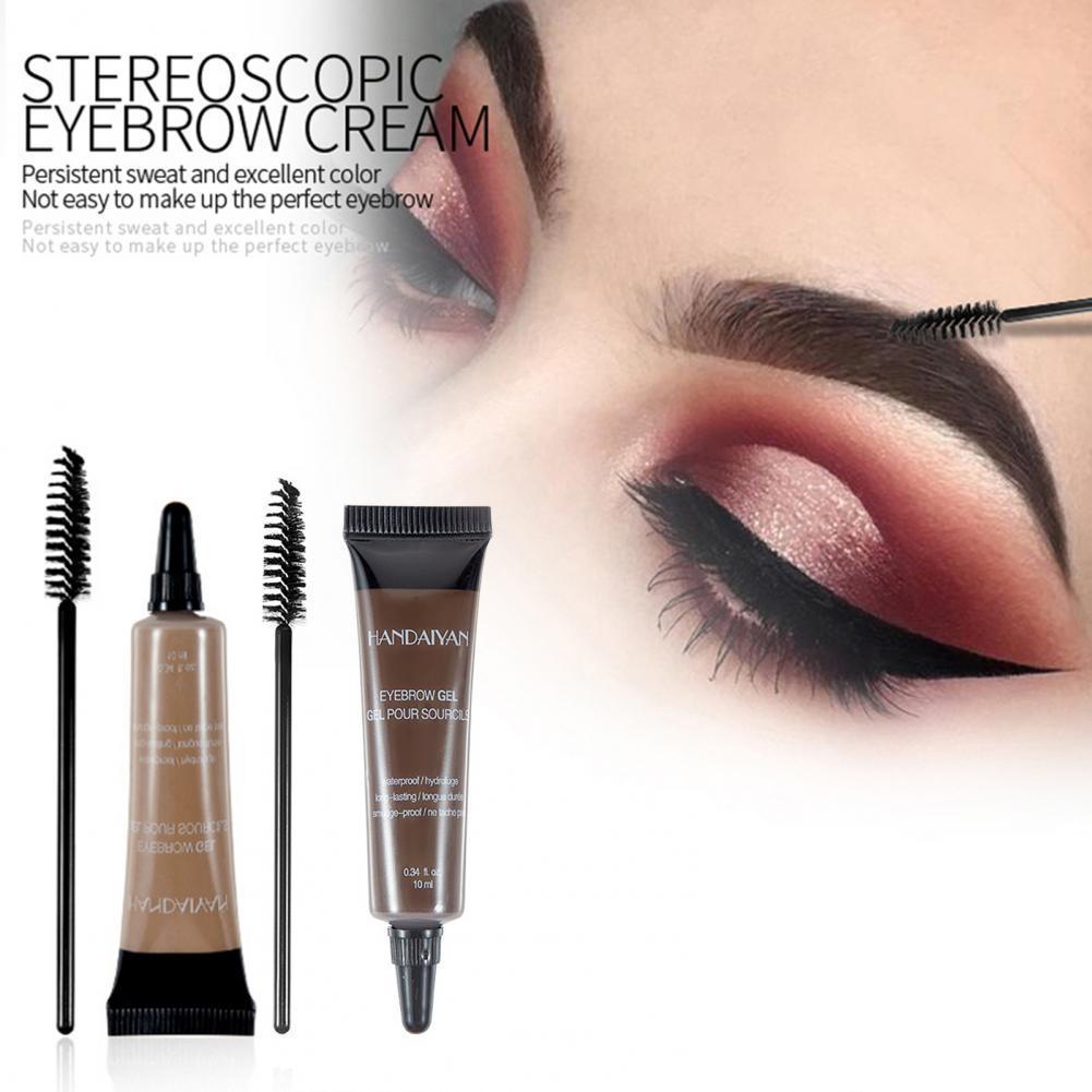10ml Eyebrow Gel Non-Gradient Waterproof Cream Eyebrow Tattoo Pen Brush Kit Women Makeup Enhancer fo