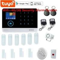 Tuya WiFi 4G Protection de securite a domicile systeme dalarme intelligent ecran tactile kit antivol application Mobile telecommande RFID bras et desarmer