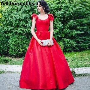 Mbcullyd Elegant Scoop Neck Prom Dresses Long 2020 A-line Red Satin Evening Dress For Women vestidos de fiesta de noche
