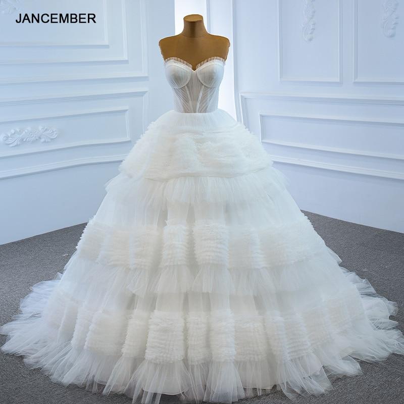 فستان زفاف أبيض مثير من التول ، ثوب زفاف بدون ظهر مع كشكش ، ظهر برباط ، تصميم مأدبة ، RSM67175 ، 2021