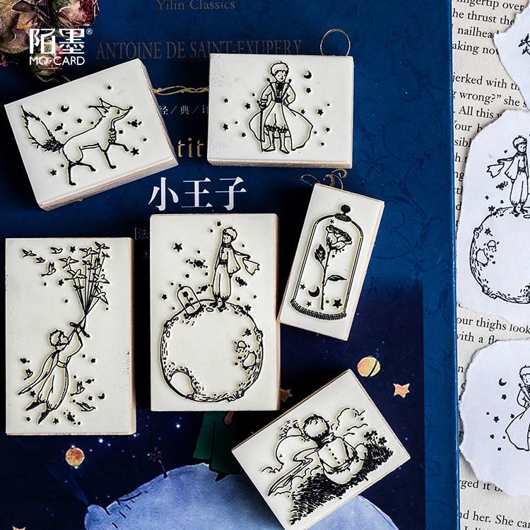 Маленький тема принца Diy Деревянные и резиновые штампы дневник в стиле Скрапбукинг марки комплект рисунок объявления таблички указатели дл...