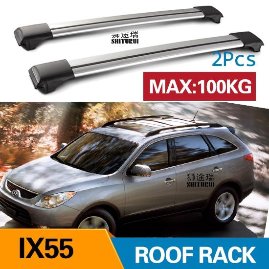 2Pcs Dach bars Für HYUNDAI IX55 2008-2017 2012 Aluminium Legierung Seite Bars Kreuz Schienen Dach Rack Gepäck CUV SUV LED
