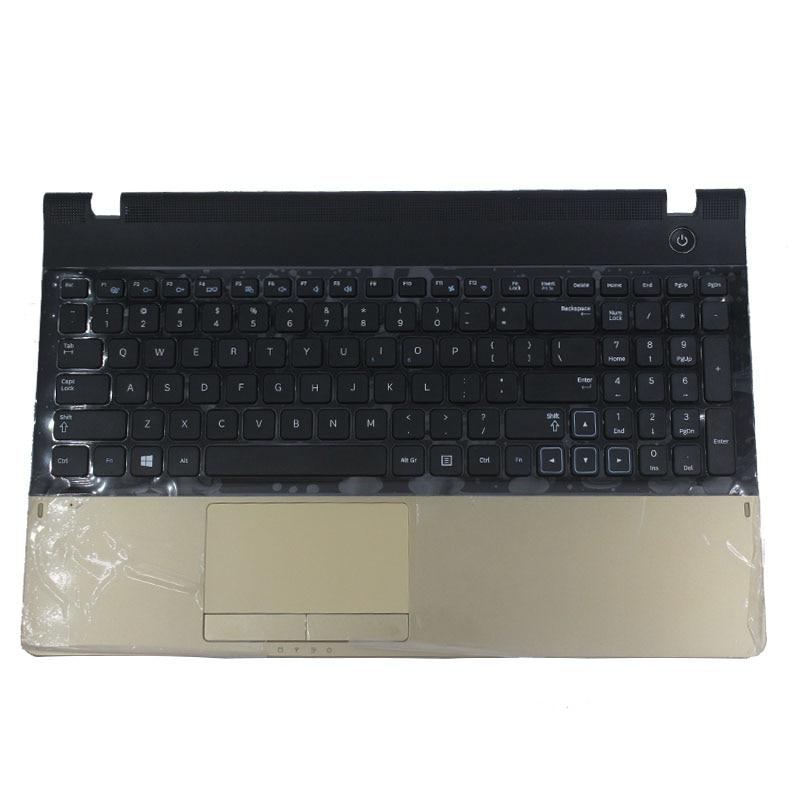 Nuevo para samsung NP300E5A NP305E5C NP300e5x NP305E5A 300E5A 300E5C 300e5x 300E5Z nos teclado de la computadora portátil con oro Palmrest cubierta