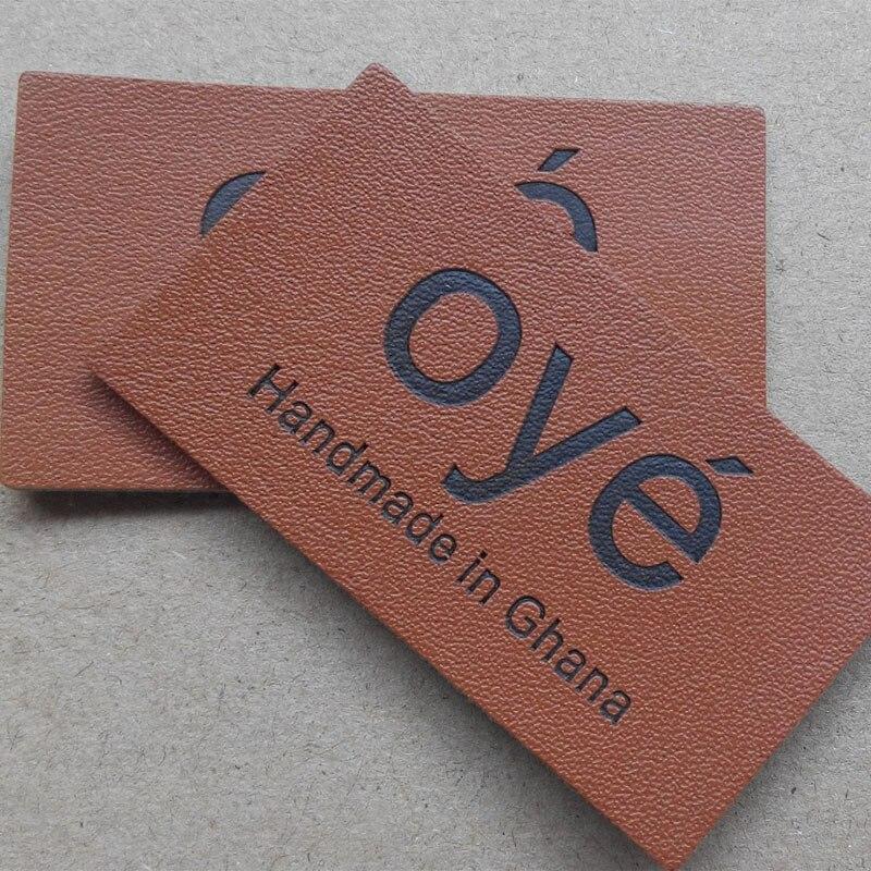 (1000 unids/pack) etiquetas de cuero genuino grabado personalizadas, insignias con logotipo de marca, etiquetas de cuero Real para bolsas y zapatos