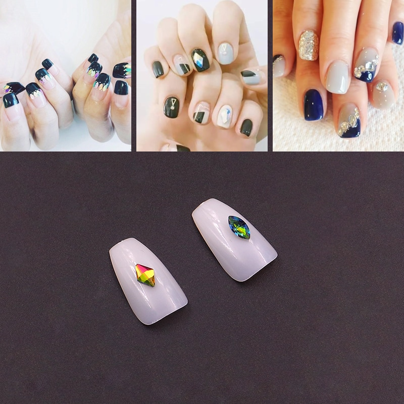 30 diseños 10 Uds Super brillo cristal gemas para uñas Oval gota de agua diamante Shinny Stone Nail Art Rhinestone Set/Kit puntas de manicura