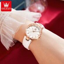 OLEVS White Women's Quartz Watches Luxury Fashion Diamond Bling Ladies Watch Casual Leather Female W