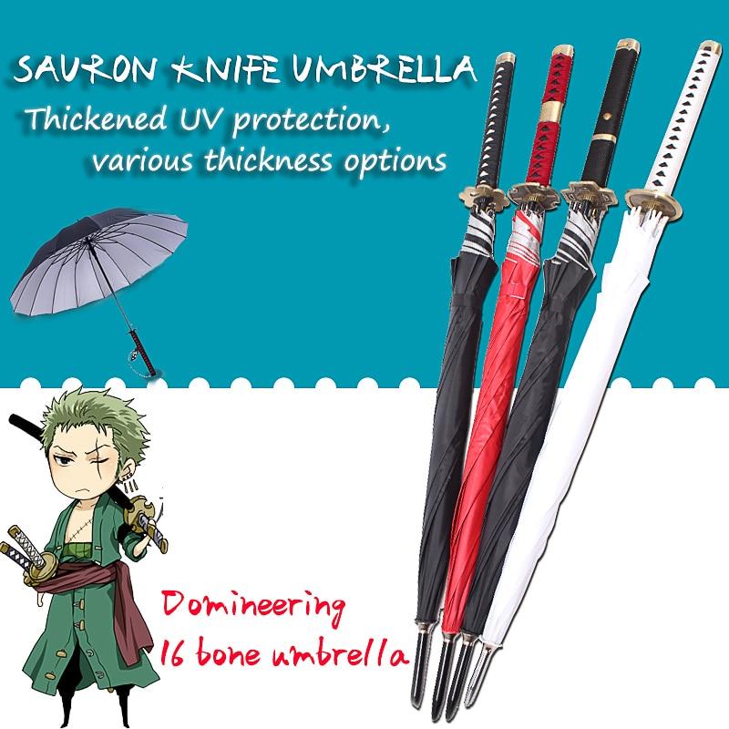قطعة واحدة Roronoa زورو التلقائي كاتانا مظلة الإبداعية المطر النساء الرجال سيف ساموراي النينجا سكين مظلة يندبروف المظلة