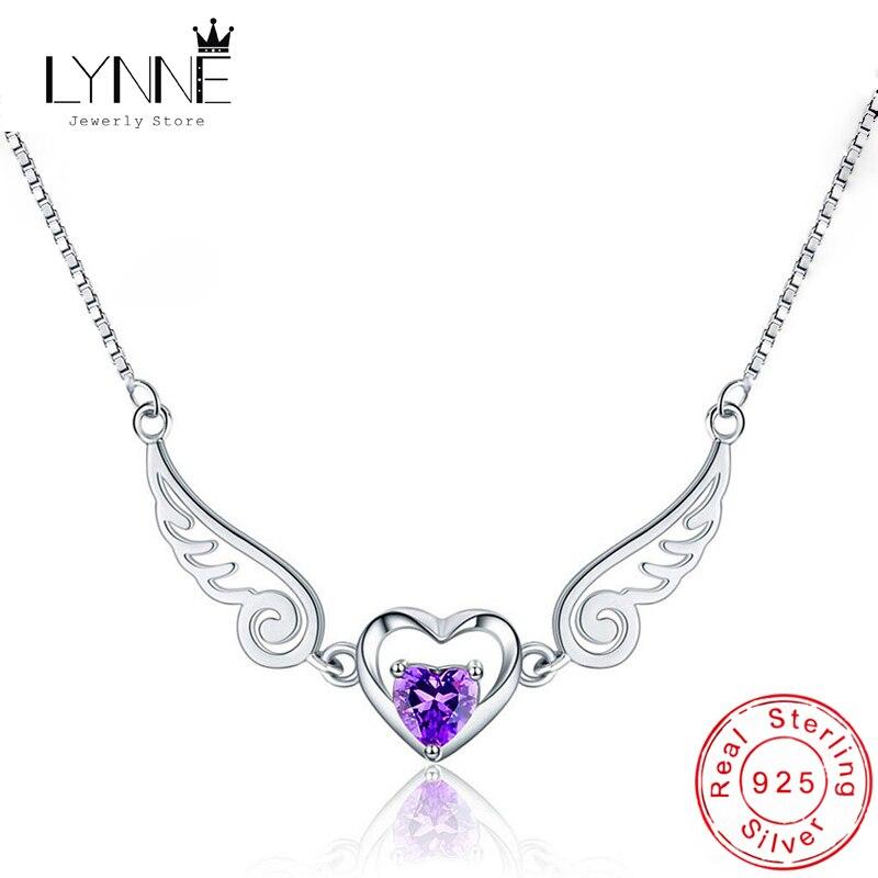 Moda novedosa Collar de plata de ley 925 con alas de Ángel y circonita, collares colgantes de corazón con diamantes de imitación morados, joyería para mujer