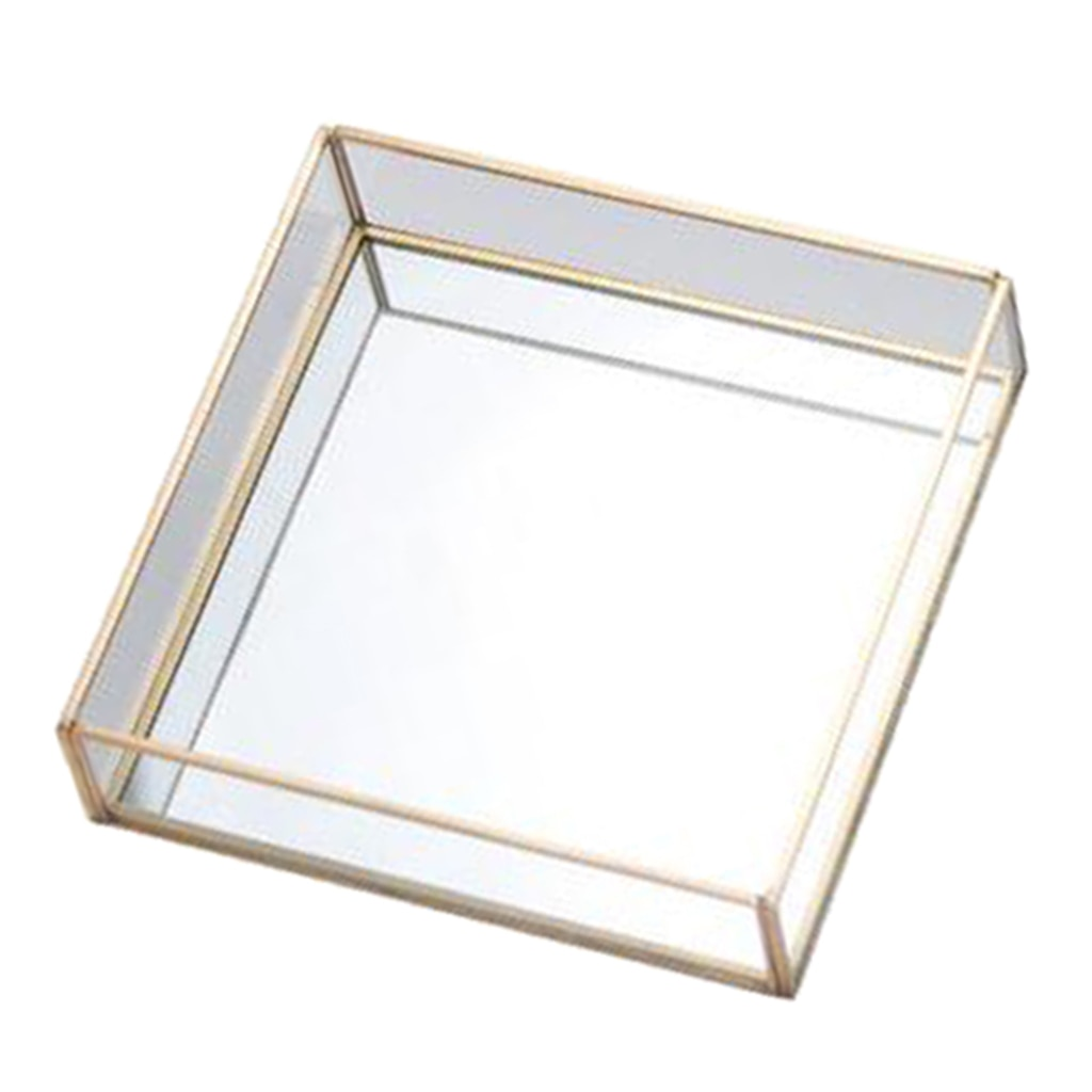 Glass Decorative Box, Jewelry Storage Organizer, Plant Terrariums with Gold Edge