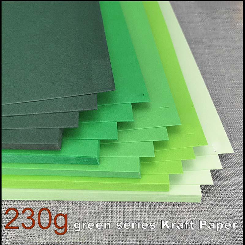 A4 A3 230gsm 25/50 ملاءات الأخضر الكرتون الثابت DIY سجل القصاصات كرافت ورقة حقيبة الأخضر سلسلة سميكة الكرتون ضوء الأخضر