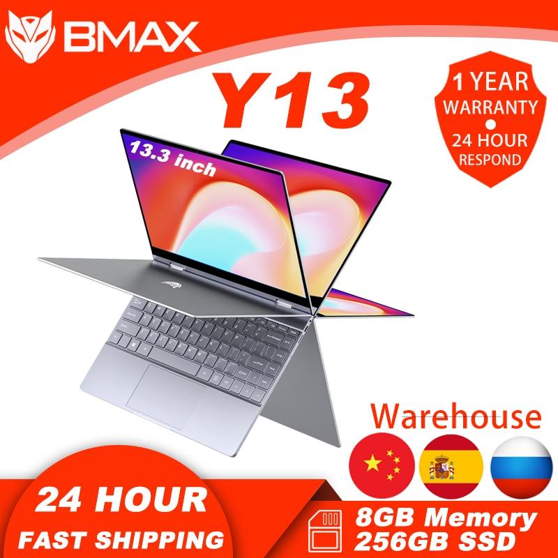 Promo Bmax Y13 Laptop 360° Rotating 13.3 inch Windows 10 8GB RAM 256GB SSD 1920*1080 IPS touch screen Intel Celeron N4120 notebook