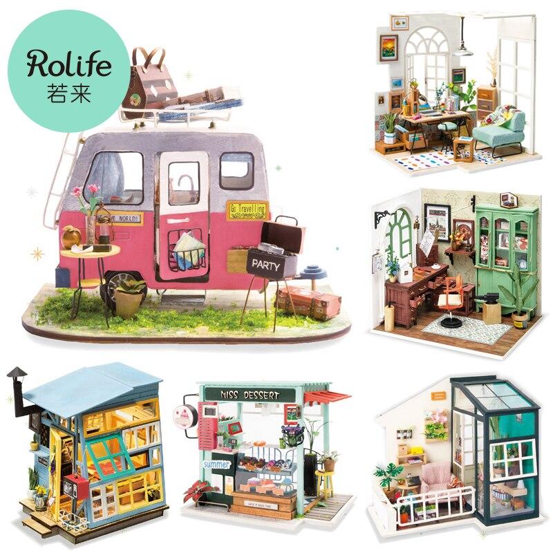 Robotime لتقوم بها بنفسك دمية مصغرة خشبية سعيد تخييم اليدوية بيت الدمية جيمي ستوديو مع الأثاث لعب للأطفال هدية