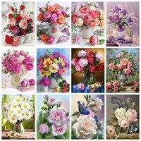 5D BRICOLAGE Diamant Peinture Fleurs Rose Plein Carre Foret Rond Diamant Broderie Mosaique Kits de Point De Croix Vase Art Decor A La Maison