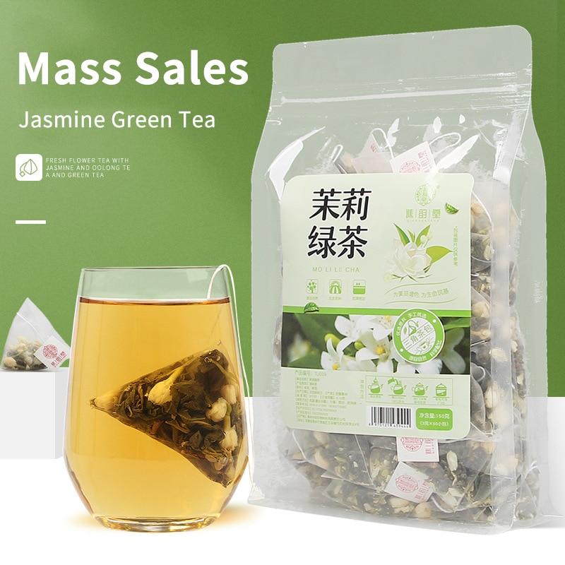 Té Verde jazmín 150 g/bolsa triángulo bolsa jazmín Verde té bolsa de té de burbuja fría té sabor blanco de té de la leche tienda especial