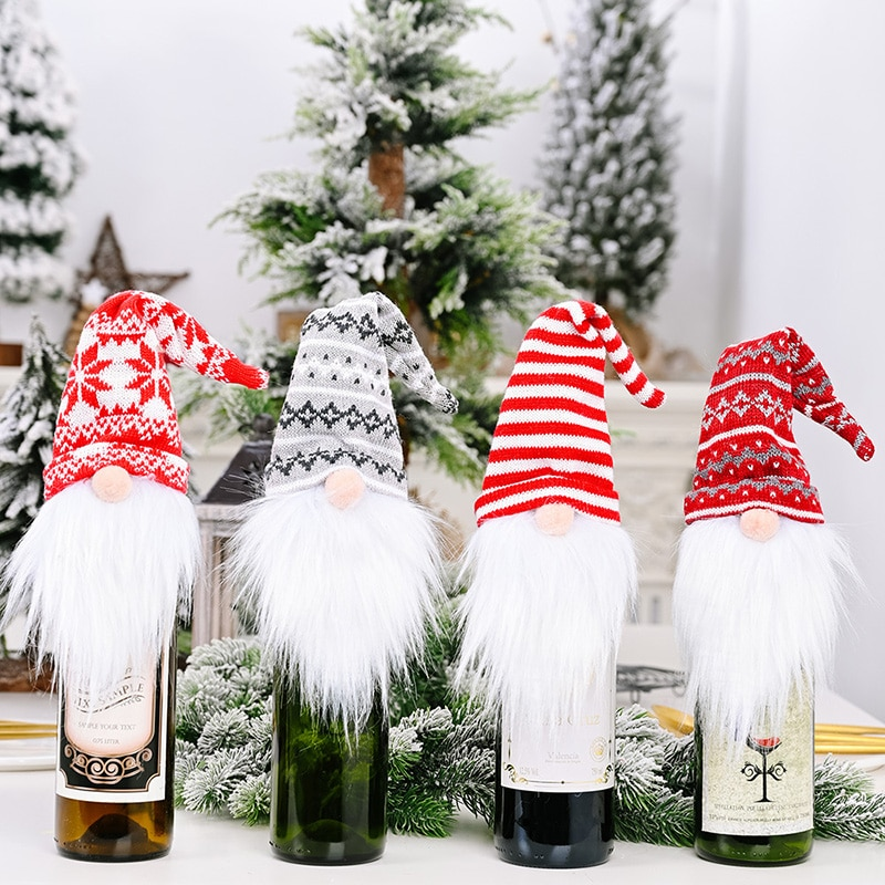 Hot-Selling 30x12cm Knitted Redwine Bottle Cover Faceless Doll Christmas Collection Gifts Ornaments Accessories Table Decoration