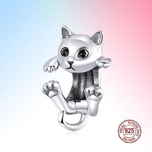 Genuine 925 Sterling Silver cute cat animal Charm Beads Jewelry original 3 mm Bracelet Girl Gift