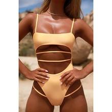 2021 Solid Swimwear One Piece Swimsuit Women Backless Brazilian Summer Swimsuit Sport Bodysuit Beach