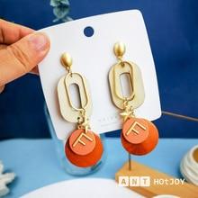 Coreano dupla camada geométrica redonda brinco de madeira para mulher letra f estrela balançar brincos orelha moda jóias