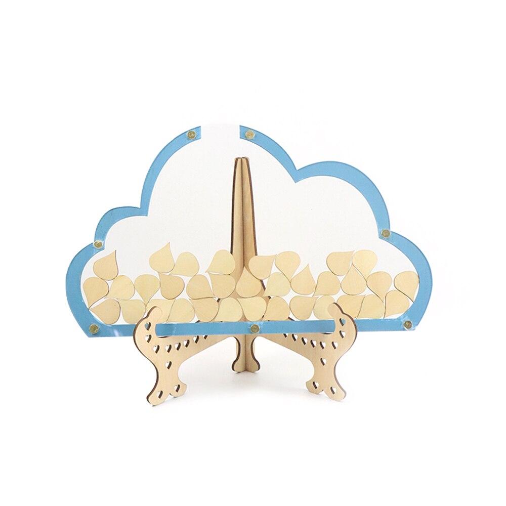 3D nubes único libro de invitados boda con 100 Uds. Gota de lluvia rústico dulce libro de visitas boda deseos caja de madera