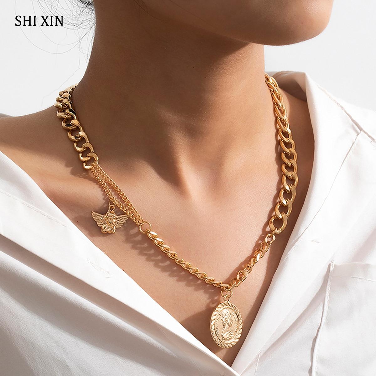 Collar SHIXIN Punk grueso con colgante de moneda/Ángel para mujer, Gargantilla corta de hip hop, collar de moda 2020, regalo de joyería