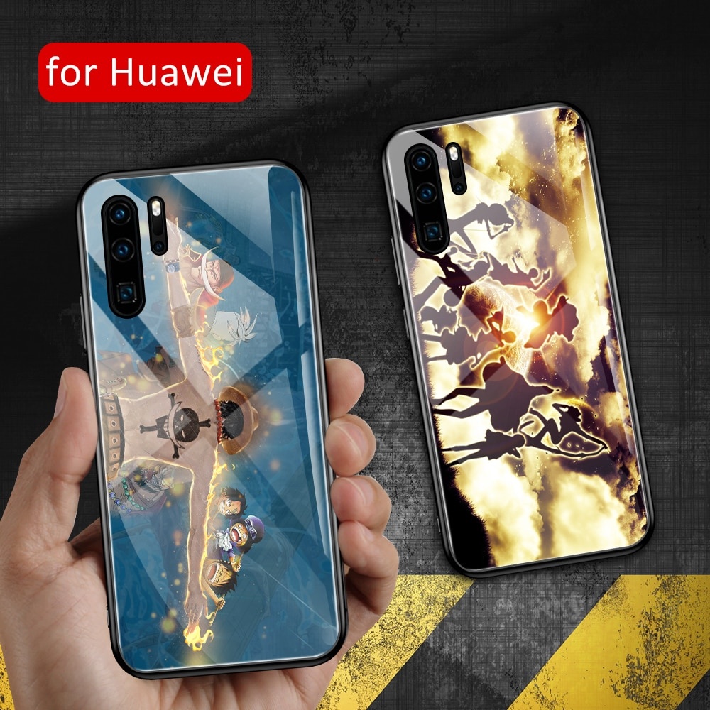 Funda de cristal para huawei p20 lite, funda trasera de anime para Huawei P9 P10 Plus P20 P30 Pro P20 P30 lite P smart 2019, funda de una pieza DIY