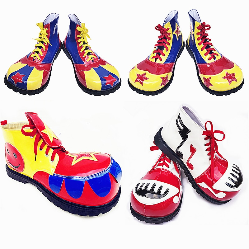 33 см взрослых клоун обувь смешной Джокер обуви клоун макияж клоуна на платформе сапоги Женская Клубная праздничная одежда для волшебного п...