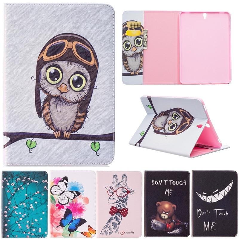 "Moda mariposa búho oso dibujos animados PU cuero Flip Stand cubierta casos para Samsung Galaxy Tab S3 T820 T825 9,7 ""Tablet funda Fundas"