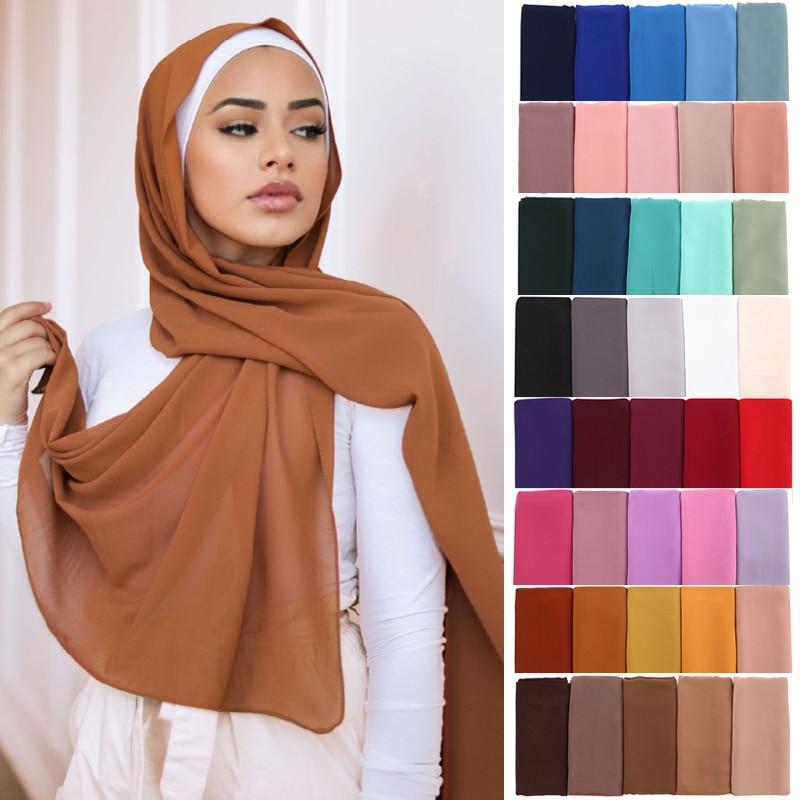 Women Solid Color Chiffon Hijab Scarf Wrap Islamic Shawls Headband Muslim Hijabs Wrap Headscarf Scar