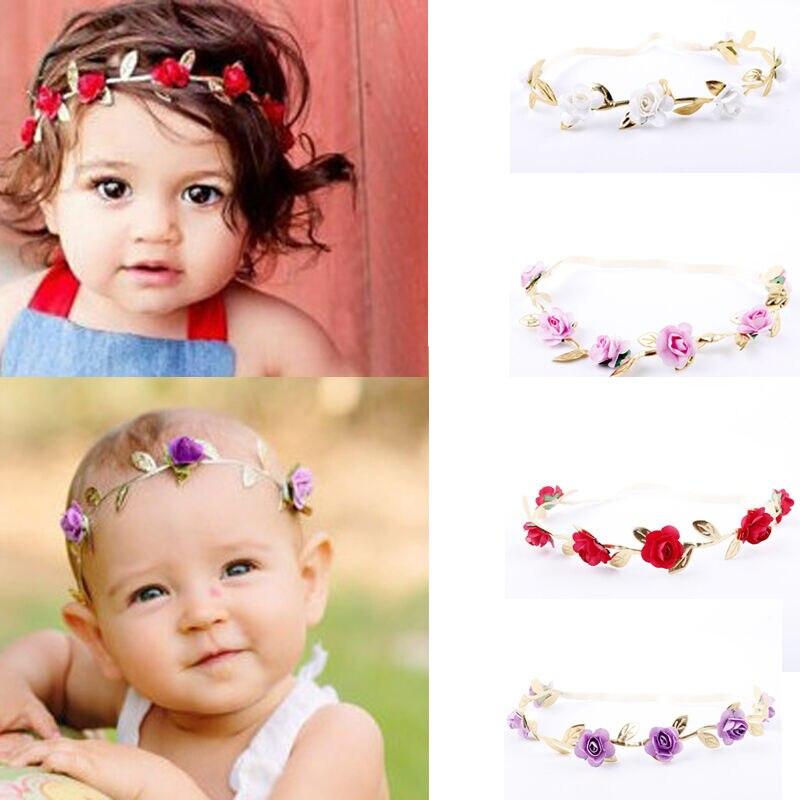 Новорожденная детская Корона лента для волос для девочки дети гирлянды золото повязка для волос-листья венок из роз красный синий белый бежевый