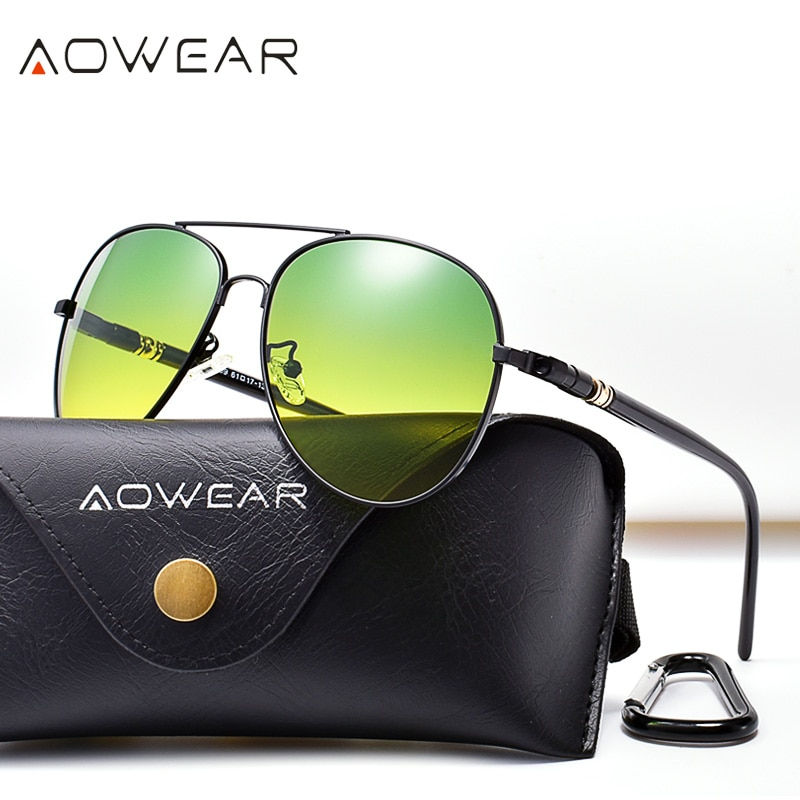 AOWEAR Aviation Day Night Vision Sunglasses Men Polarized Yellow Green Driver Glasses for Day and Ni