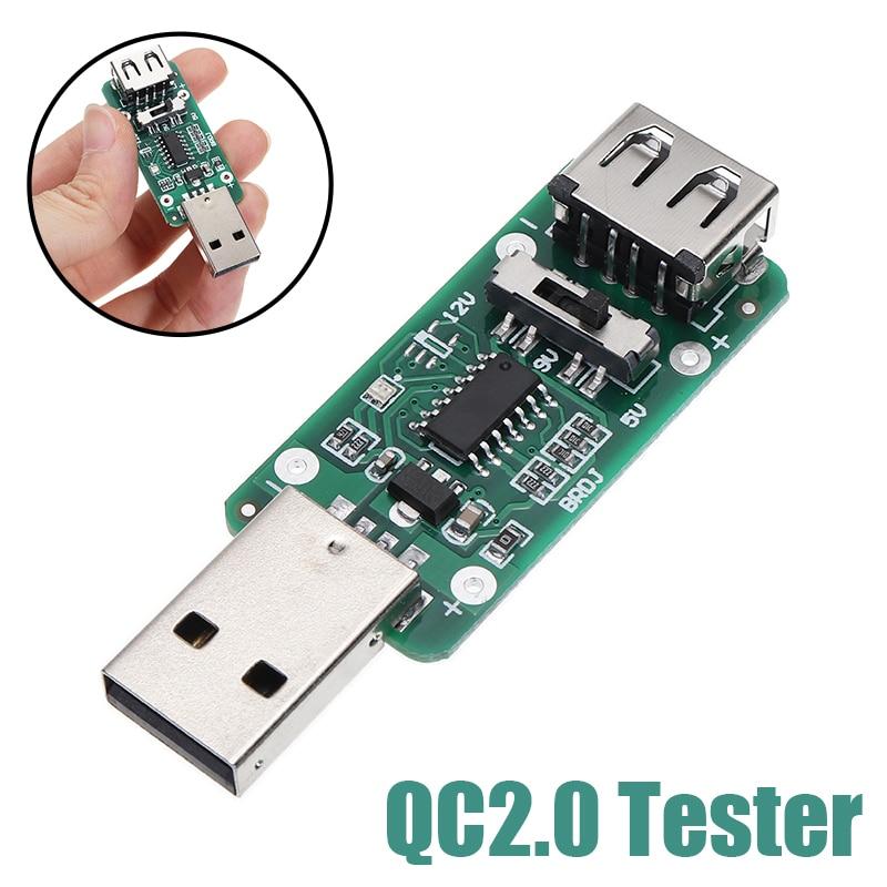 Usb gatilho tester carga rápida detector de tensão direção automática 5 v 9 v 12 v indução suporte qc2.0 qc3.0 cabeça de carregamento