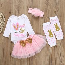Новейшая одежда для маленьких девочек, пасхальный день, с рисунком кролика, с буквенным принтом, короткий рукав, комбинезон, гетры, Одежда дл...