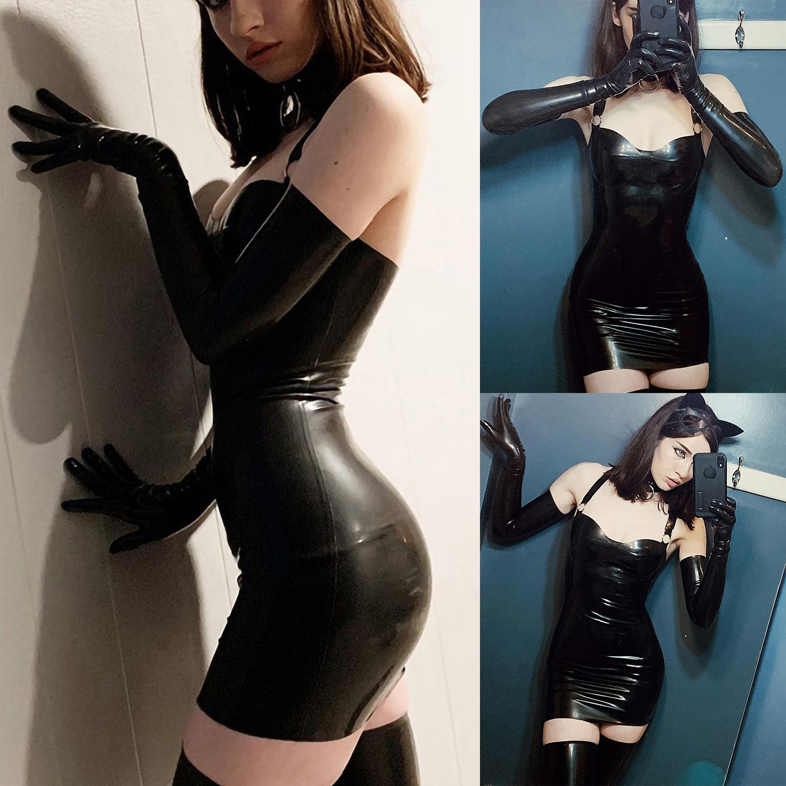 Sexy Women's Dress Gothic Leather Girl Tube Strap Tight Dress Suit Transparent Glossy Pantyhose Elastic High Waist Dress Платье