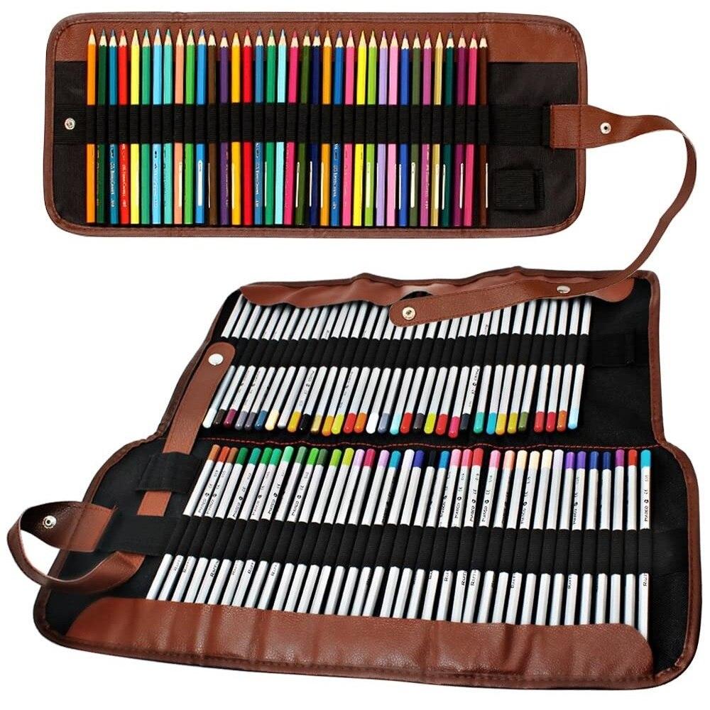 Bolsa de lona para lápices con 36/48/72 ranuras, organizador, bolsita plegable para rotuladores, bolígrafos de papelería, Oficina de estudiante de la escuela, viaje A6573