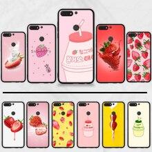Nette Erdbeere Milch Muster TPU schwarz Telefon Fall Abdeckung Hull Für Huawei Ehre 7C 7A 8X 8A 9 10 10i lite 20 NOVA 3i 3e