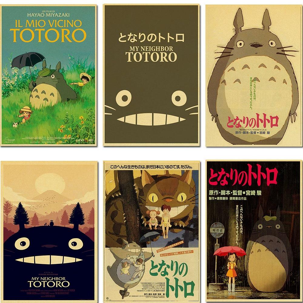 Póster Retro-My Neighbor Totoro-Cuadro de pared colgante decoración del hogar/caricatura tienda papel Kraft
