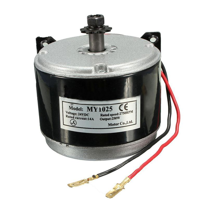 محرك كهربائي مصقول 24 فولت ، 250 واط ، 2750 دورة في الدقيقة ، سلسلة للتحكم في سرعة محرك السكوتر الإلكتروني