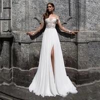 bohemian wedding dresses 2020 sexy high side split lace applique bridal dress chiffon long sleeves beach wedding gowns