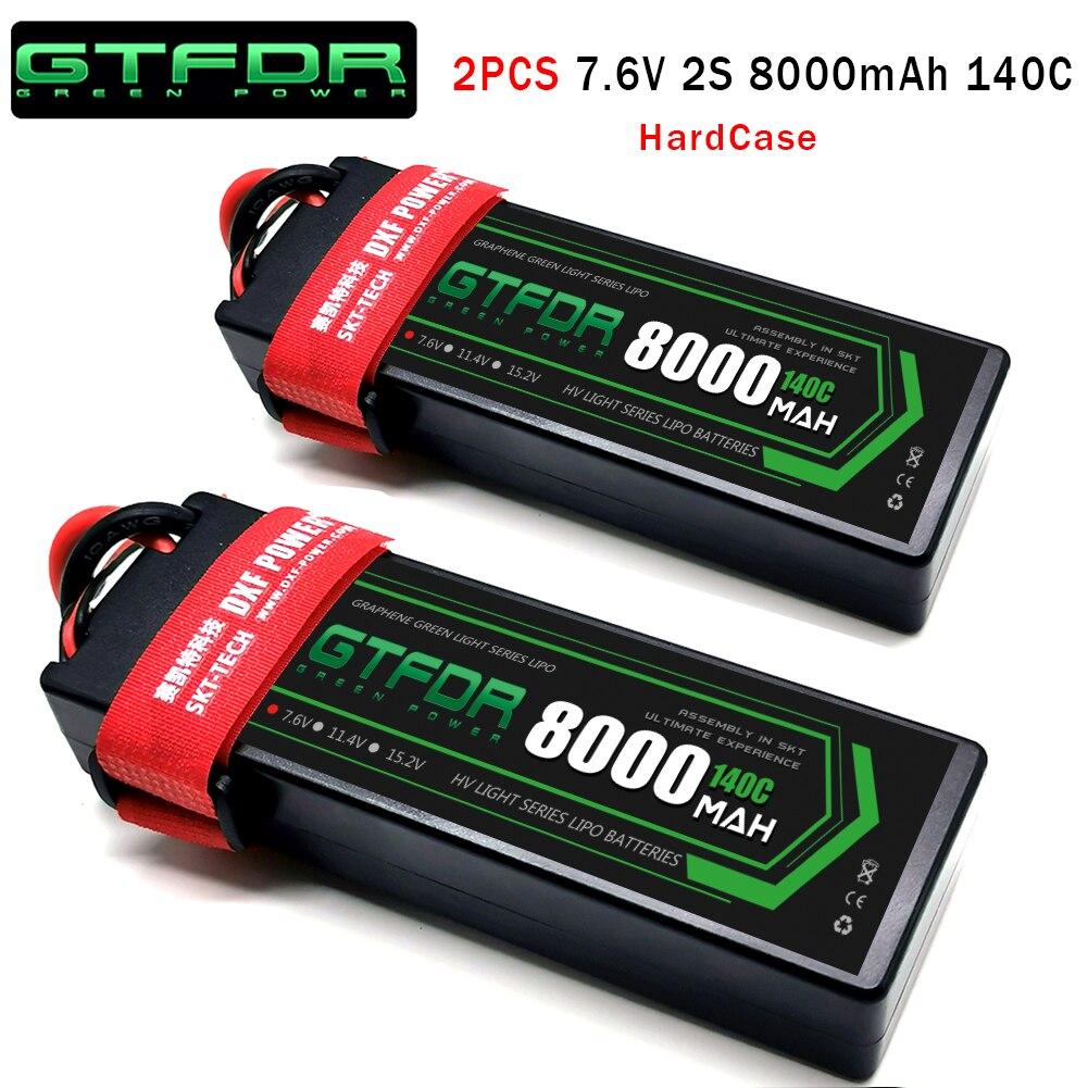 GTFDR 2PCS Lipo Battery 2S 7.4V 9300mAh 10000mAh 8400mAh 7300mAh 100C/200C 60C/120C 130C/260C 110C/220C for 1/5 1/8 RC Boat Car enlarge