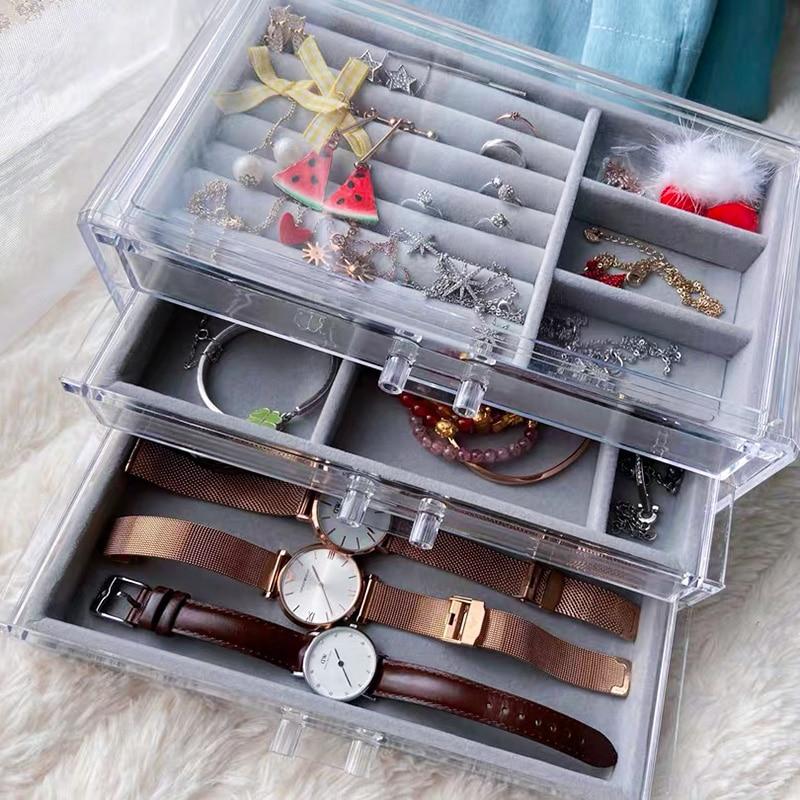Пылезащищенная коробка для хранения ювелирных изделий, витрины для женщин, витрины для часов, витрины для дома, серьги, ожерелье, шкатулка для ювелирных изделий YSUMI